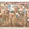 Bargheer_Südliche Landschaft_Farbradierung, Kaltnadel und Aquatinta von drei Platten auf Bütten, 73
