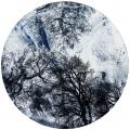 ohne Titel, 2016, Mischtechnik auf Holz, Ø 66 cm