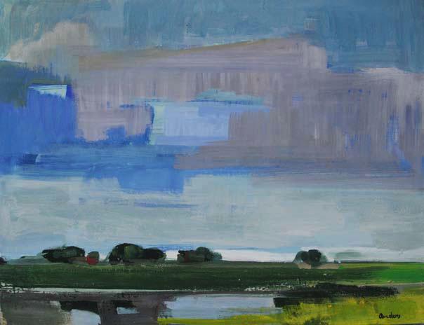 """Kai Quedens (*1965), """"bääft a dik (Hinterm Deich)"""", 2012, Eitempera auf Leinwand, ca. 70 x 90 cm, signiert"""