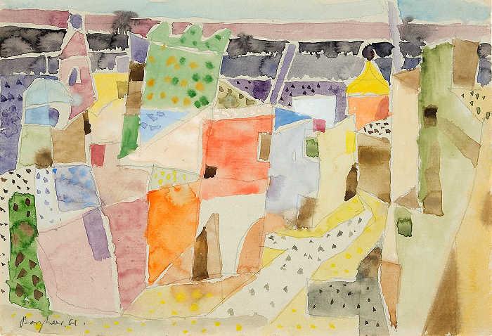 """Eduard Bargheer (1901-1979), """"Heller Morgen auf Ischia"""", 1961, Aquarell auf Bütten, ca. 22,5 x 32,5 cm, signiert, datiert, rückseitig ein weiteres Landschaftsaquarell, P. a. A."""