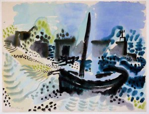 """Boot am Strand"" 1947 Aquarell, ca. 48,5 x 64 cm, signiert, datiert, P. a. A."