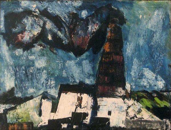 "Reinhard Drenkhahn (1926 - 1959), ""Fabrik"", 1955, Öl auf Hartfaser, ca. 71 x 95 cm, signiert, datiert,  aus der Sammlung Dr. Erna Knöfel"