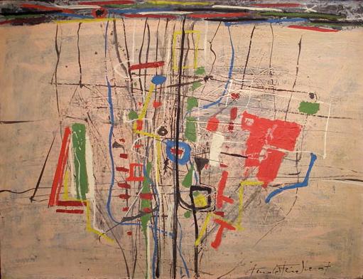 "Arnold Fiedler (1900-1985), ""Abstrakte Komposition"", 1967, Öl auf Malkarton, 64 x 84 cm, signiert, datiert"