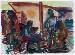 """""""Fischer bei den Netzen"""" 1942 Aquarell, ca. 41 x 54 cm, signiert, datiert, P. a. A."""