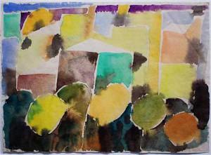 """""""Forio am Morgen"""" 1969 Aquarell, ca. 31,5 x 42,5 cm, signiert, datiert, P. a. A."""