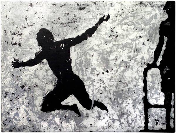 """Rasmus Hirthe, """"Strandbad"""", 2014, Mischtechnik auf Sackleinen, 100 x 120 cm"""
