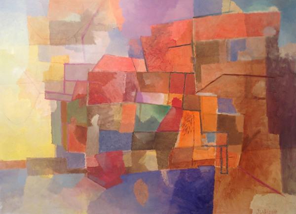 """""""Hafenrand"""", Öl auf Papier, 42 x 58 cm"""
