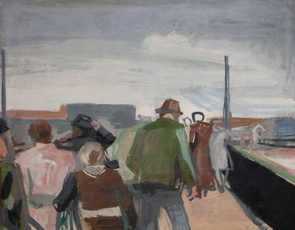 "Erich Hartmann (1886–1974) ""Landungssteg auf Helgoland"", um 1935, Öl auf Leinwand, 71,5 x 90,5 cm"