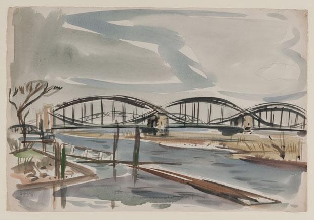 """Kurt Löwengard (1895-1940), """"Elbbrücken"""", 10.4.1937, Aquarell über Blei, 38 x 55,6 cm, signiert, datiert"""