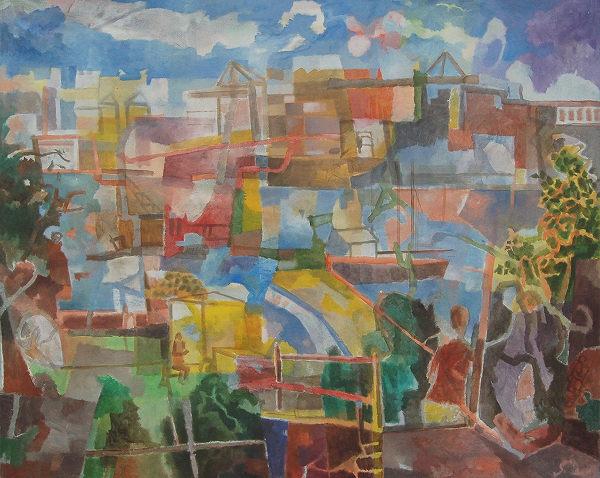 """""""Övelgönne"""", 2014, Öl auf Leinwand, 120 x 180 cm"""