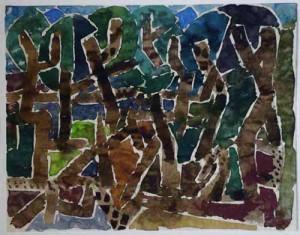 """""""Olivenhain"""" 1952 Aquarell, ca. 22 x 27,5 cm signiert, datiert, verso betitelt, P. a. A."""