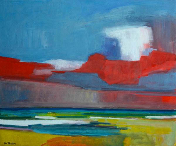 "Kai Quedens, ""ruad swark (rote Wolke)"", 2014, Eitempera auf Leinwand, 100 x 120 cm"