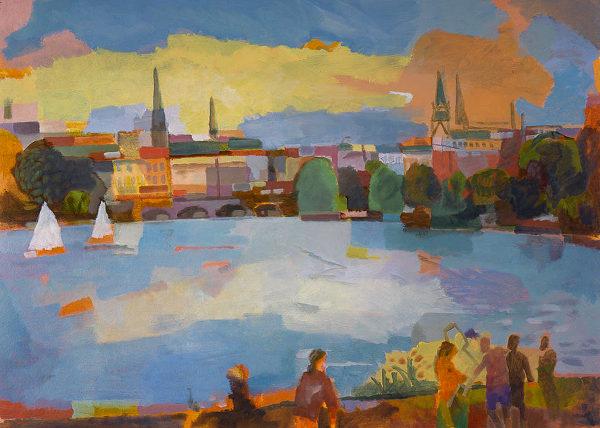"""Heinz Rolefs, """"Innenstadt vom Alsterufer aus"""", 2013, Öl auf Karton, 50 x 70 cm"""