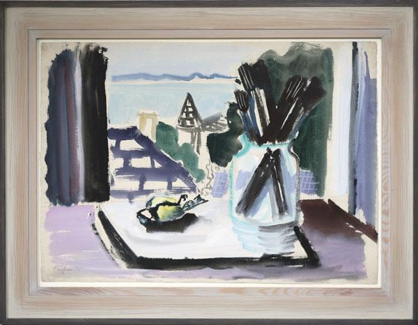 "Eduard Bargheer (1901-1979), ""Stilleben mit toter Meise"", 1939, 51 x 72 cm, Gouache und Aquarell, signiert, datiert"