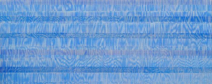 Nikola Dimitrov, Komposition, 2011, Pigmente, Bindemittel, Lösungsmittel auf Leinwand, 100 x 250 cm