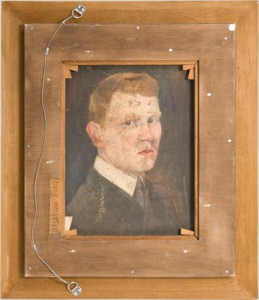 Eduard Bargheer (1901 - 1979) 'Portrait', ca. 1920 Öl auf Leinwand 40 x 50 cm Rückansicht des Gemäldes 'Stadt am Meer', 1973