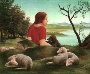 Mädchen mit Schafen Oelbild 3